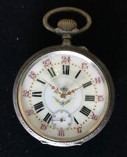 Ancre Remontoir 15 Rubis Pocket Rubis LARGE Silver Pocket Watch - Railroad Motif
