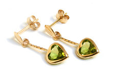 9ct Gold Peridot Heart drop dangly earrings Gift Boxed Made in UK