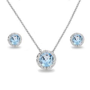 Sterling Silver Blue Topaz & White Topaz Round Halo Necklace & Stud Earrings Set