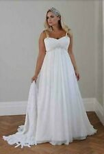 Plus Size Beach Wedding Dress Spaghetti Straps Beaded Chiffon Empire Bridal Gown