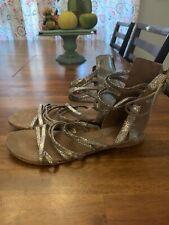 FREE PEOPLE Juliette Iridescent Gladiator Sandals EU 39 US 9 Gold Shimmer