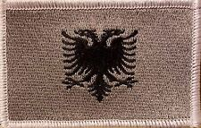 Albania Flag Embroidered Iron-On Patch Military Gray Version White Border