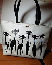 "Kate Spade COOL CAT ""Jazz Things Up"" Francis Tote Large Handbag. 11x17"""