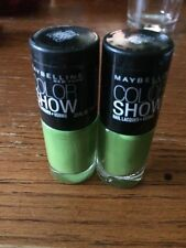 Maybelline Color Show Nail Polish # 340 Go Go Green 2 Bottles Brand New