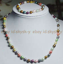 Natural 6-7mm Multicolored Genuine Freshwater cultured Pearl Necklaces Bracelets