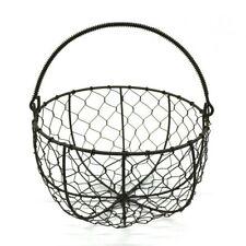 Round Metal Wire Egg Basket Wire Gathering Basket Country Style Storage Basket