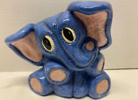 VTG 1987 Blue & Pink Pottery Ceramic Hand Painted Elephant EUC Signed (Kitsch?)