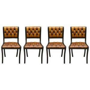 SET OF FOUR RESTORED VINTAGE CHESTERFIELD MAHOGANY BROWN LEATHER DINING CHAIRS