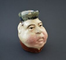 Antique early Vintage faience portuguese MUG HEAD Jar small pitch