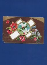 ANTIQUE EASTER POSTCARD WHITE CROSS LILLIES RED BLUE FLOWERS 1911