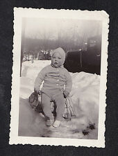 Antique Photograph Adorable Baby With Rosey Cheeks Sitting Out in the Snow