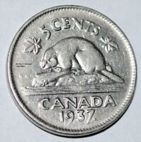 Canada 1937 5 Cents George VI Canadian Nickel Low Mintage
