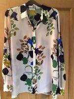 Reiss Cream Blue Green Floral Pure Silk Jura Blouse M 14-16