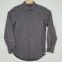 Robert Graham 41 x 16 Black Gray Striped Long Sleeve Mens Button Dress Shirt