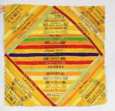 Antique 1800s Victorian Silk Cigar Band Quilt Hand Embroidered Pillow Cover