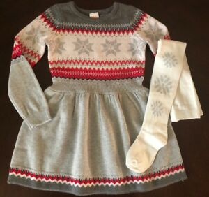 NWT Gymboree Girl North Pole Party Christmas Sweater Dress & Tights 7 8 10 12