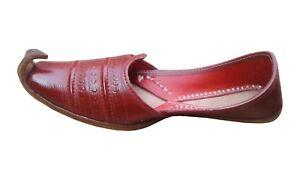 MEN SHOES KHUSSA RED FLIP-FLOPS MOJARI INDIAN HANDMADE LEATHER FLAT SLIPPER JUTI