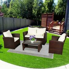 4PCS In/Outdoor Patio Rattan Wicker Furniture Set Wicker Table Sofa /w Cushioned