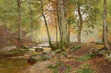 PAINTING LANDSCAPE ARBOREAL BOHMER SUNLIT FOREST LARGE ART PRINT LF957
