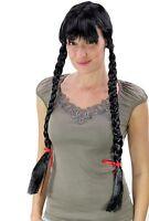 Wig Women's Black Long Braided Pigtails Maid Alm Heidi Oktoberfest Uniform