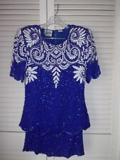 SURIN : NY Royal blue Two Piece Dresses For Any Occasion Beaded pearl Flowers .
