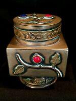 Antique Chinese Brass Tea Jar Caddy Peking Glass Cabochons Applied Leaf Motif VG