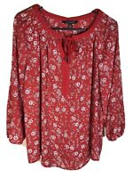 Zac & Rachel Red Floral Boho Peasant Pull-On Lightweight Top M