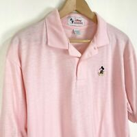 Disney Vintage 80s Mens XL Pink Polo Lacoste Style Thin Soft Single Stitch 50/50