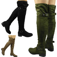 New Womens Ladies Over The Knee Thigh High Boots Low Heel Buckle Flat Shoes Size