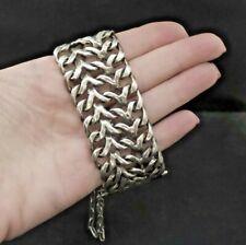 WIDE Vintage Mexican Sterling Silver Curb Link Biker Bracelet 120 Grams