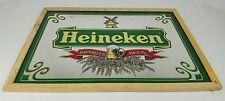 Vintage Heineken Beer Imported Mirror Sign Framed 19x14 Man Cave Distressed