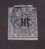 Wurttemberg stamp #6, used, German State imperf, SCV $750.00