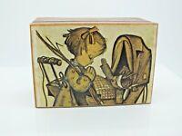 VINTAGE 1950'S WORKING REGUE WOODEN MUSIC BOX PRAYING CHILD