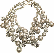 KENNETH JAY LANE-3 STRAND GRAY PEARL/CRYSTAL CLUSTER NECKLACE
