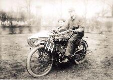VINTAGE MOTOR CYCLE SCENE . RIDER ON PRE WAR INDIA MOTOR CYCLE c 1920's