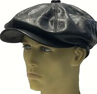 Peaky Blinders Newsboy Leather Look Gatsby Cap Hat Flat Baker Boy Bakerboy Men's