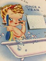 Vintage White & Wyckoff Birthday Card Woman in Bubble Bath Real Cloth Towel