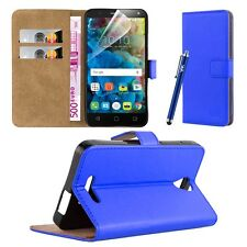Wallet Flip Book Stand View Card Case Cover for Alcatel Pop 4 Plus (5.5) Blue