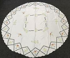 """Embroidered 72"""" Round White Embroidery Cutwork Tablecloth Fabric Polyester"""