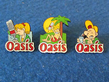 Lot of 3 French Enamel Badges - Oasis - Soft Drinks Company