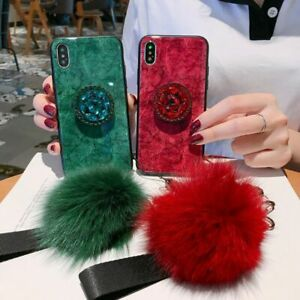 Case For iPhone 11 Pro Max x 8 7 6 5 Fashion Girls Fur Ball Tempered Glass Cover