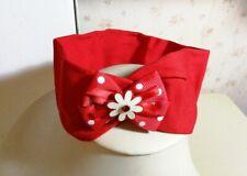 Fascia per capelli elastica bambina con fiocco semplice rosso e fiorellino A304