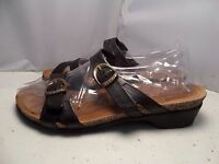 Taos Womens 7 - 7.5 / 38 Deuce Black Leather 2 Strap Slip On Slides Sandals