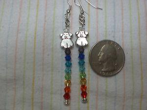 Chakra Rainbow Earrings Puppy Dog Love Pewter Swarvoski Crystals