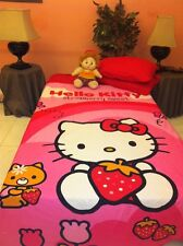 HELLO KITTY 4-PC TWIN BEDDING DUVET COVER, FLAT/FITTED SHEETS, PILLOW, COTTON