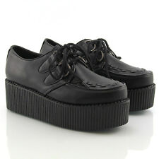 Ladies Lace Up Flat Double Platform Womens Goth Creepers Punk Wedge Shoes Size