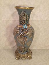 Victorian Look Glass Vase Brass Base Top Trim Plate Design Hanging Bead Piece