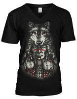 Chief Tribal Wolf Head Native American Indian  Mens V-neck T-shirt