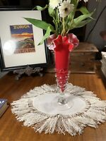 Antique Victorian Crimson Red Hand Blown Art Glass Vase Ruffled~Applied Rigaree