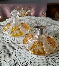 Vintage Bohemian glass perfume decanter set